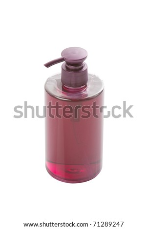 purple pump bottle isolated white - stock photo