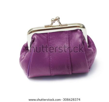 Purple purse on a white background - stock photo