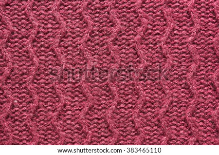 Purple red, cherry knitted sweater texture background. Space for copy, text, lettering. - stock photo