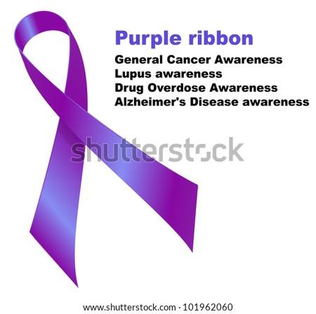 Purple ribbon. General Cancer Awareness. Lupus awareness. Drug Overdose Awareness. Alzheimer's Disease awareness.   Raster version. - stock photo