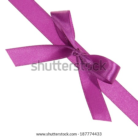 Purple ribbon with a bow diagonally isolated on white background