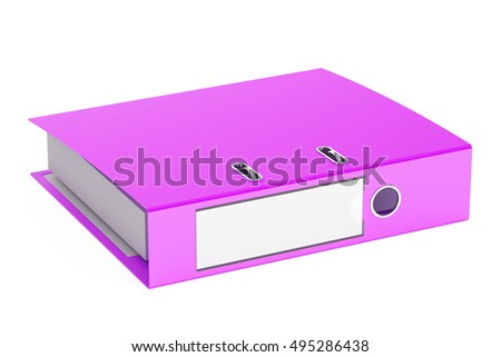 purple ring binder, 3D rendering isolated on white background