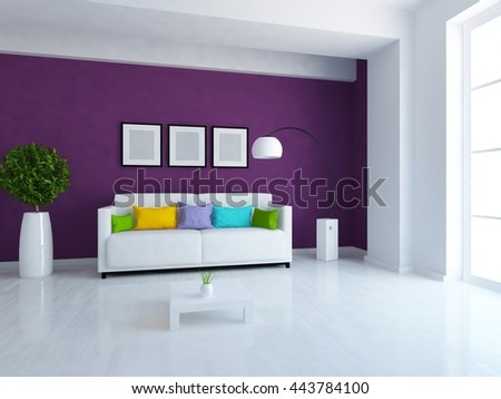 Purple room with white sofa. Living room interior. Scandinavian interior. 3d illustration