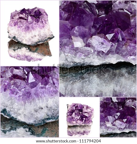 purple rough amethyst crystals,amethyst druse close-up - stock photo