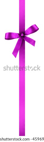 Purple Satin Gift Ribbon with Decorative Bow - Vertical Banner Illustration Isolated on White Background - stock photo