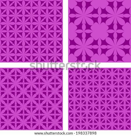 Purple seamless pattern background set - jpg version - stock photo