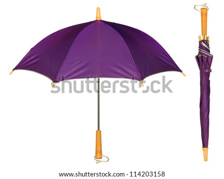 Purple simple umbrella isolated on white background - stock photo