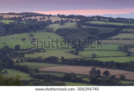 Purple Sky Over Shropshire Hills