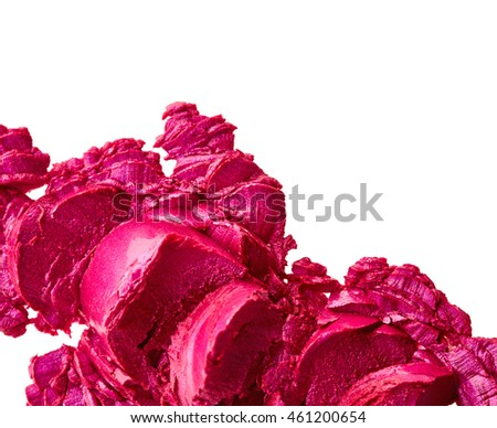 Purple sliced lipstick isolated on white background