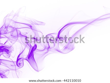 Purple smoke on white background, movement of purple smoke