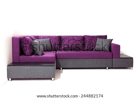 Purple  sofa with pillows, isolated on white. 3d Illustration of a Modern Sofa. - stock photo
