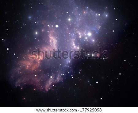 Purple space star nebula. Illustration - stock photo