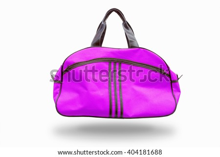 purple sports bag,with clipping path - stock photo