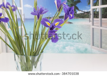 Purple Spring Flower, by an open window with a tropical view. - stock photo