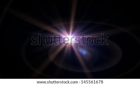 purple star lens flare effect  - stock photo