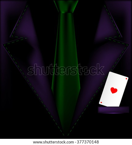 purple suit and ace of hearts - stock photo