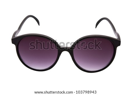 Purple sunglasses isolated on white