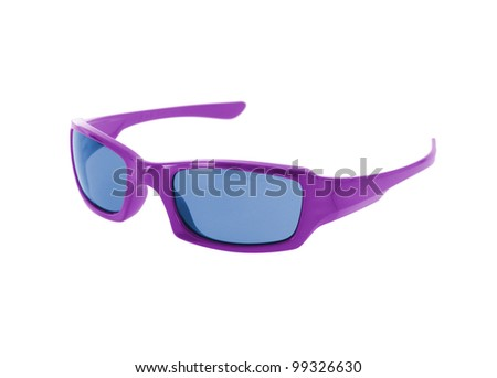 Purple sunglasses on white - stock photo