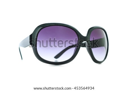 purple sunglasses on white background