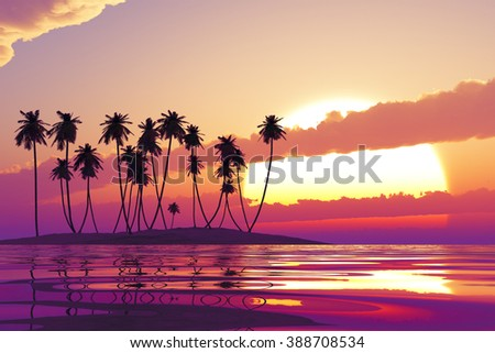 purple sunset in clouds over coconut tropic island - stock photo