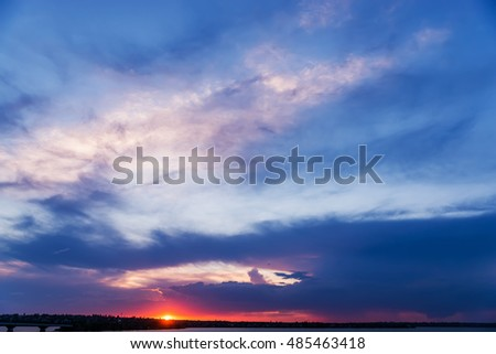 purple sunset in dramatic sky