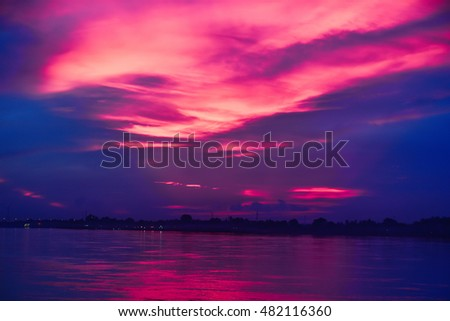 Purple Sunset Over the Mekong River in Nong Khai Province, Thailand