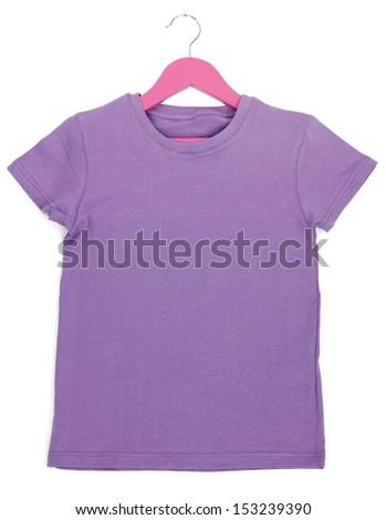 Purple t-shirt on hanger isolated on white - stock photo