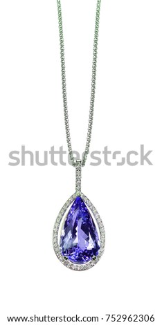 Purple tanzanite amethyst diamond drop pear stock photo 752962306 purple tanzanite amethyst diamond drop pear shape gemstone halo necklace on a chain mozeypictures Images
