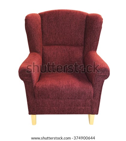Purple Textile Armchair Isolated Included Clipping Path - stock photo