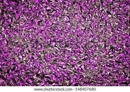 Purple texture, background. Aluminium foil - stock photo
