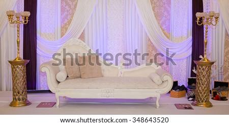 Purple themed wedding stage - stock photo