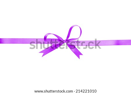 purple thin ribbon with bow, isolated on white