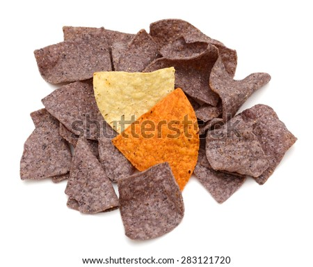 purple tortilla chips on white background  - stock photo