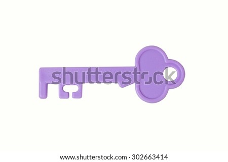 Purple Toy key isolated on white background. - stock photo