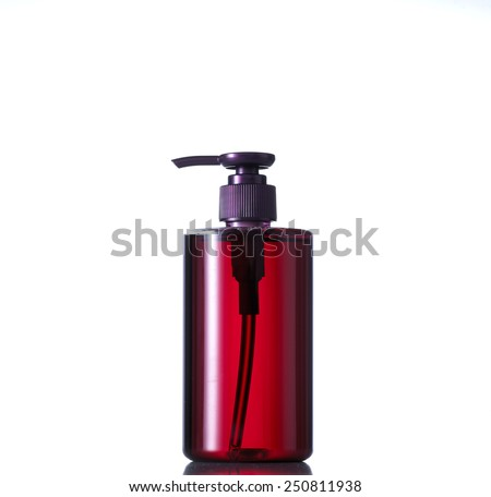 Purple tube bottle of shampoo, conditioner, hair rinse, gel, soap, on a white background with reflection. - stock photo