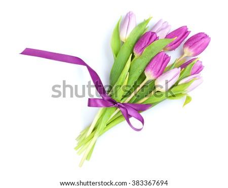 Purple tulips bouquet. Isolated on white background - stock photo