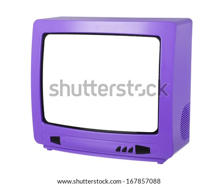 Purple Tv isolated on white background - stock photo