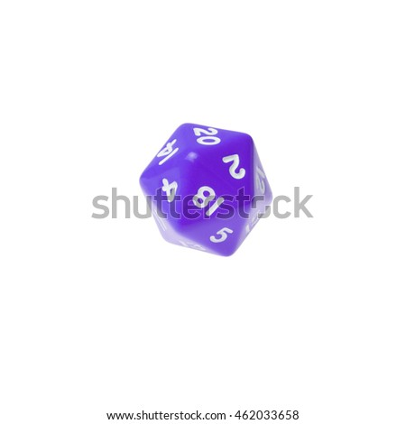Purple twenty sided dice for board games