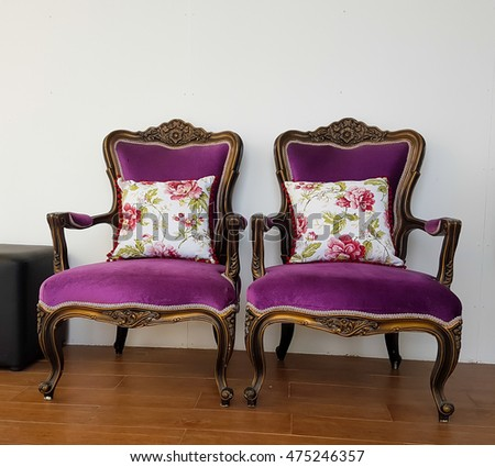 Purple Velvet Chair, Old Styled Purple Vintage Armchair Isolated On White  Background, Clipping Path