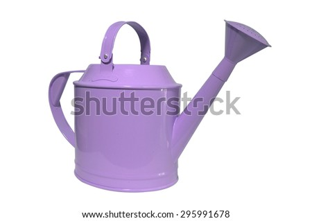 Purple, violet watering can, pot on white background
