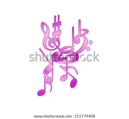 Purple violin clef, other notes, treble clef, music signs on white fond. - stock photo