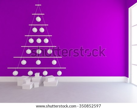 Purple wall with improvised fir-tree from Christmas tree decorations. Interior background. 3d illustration