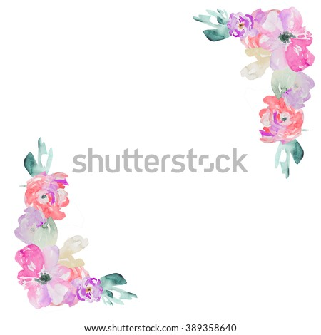 Purple Watercolour Flower Background Corners