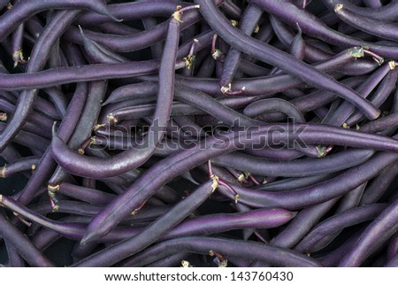 Purple Wax Snap Beans background - stock photo