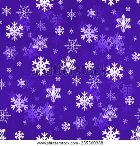 Purple winter Christmas snowflakes with a seamless pattern as background image. - stock photo