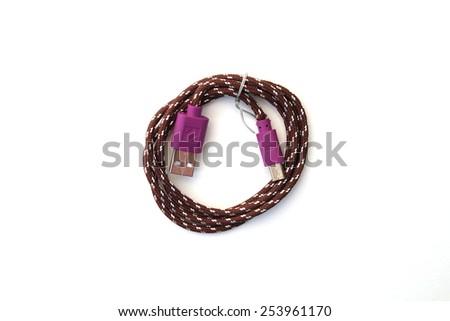 purple wire usb on white bakcground - stock photo