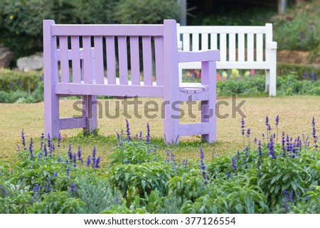 Purple wooden bench in a garden with grass lawn and lavender field.  - stock photo