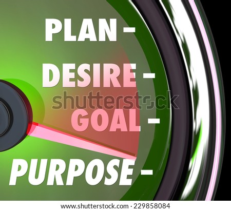 Purpose word on a speedometer or gauge with needle rising past Plan, Desire and Goals as steps to measure meaning and success rate of your mission - stock photo