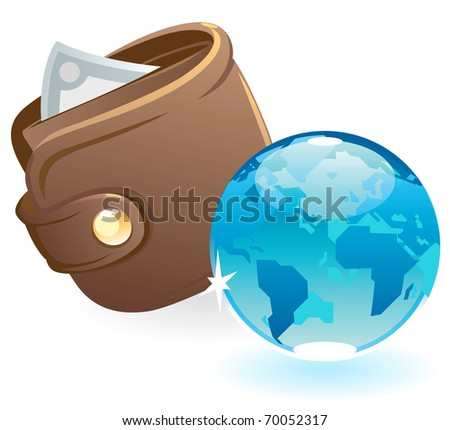 Purse and blue globe. Raster version. Vector version is also available.