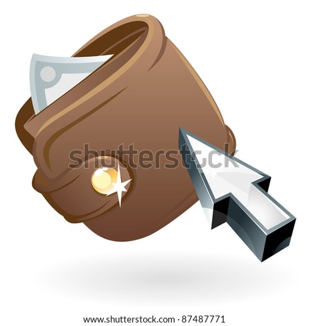 Purse and cursor. Raster version. Vector version is also available.